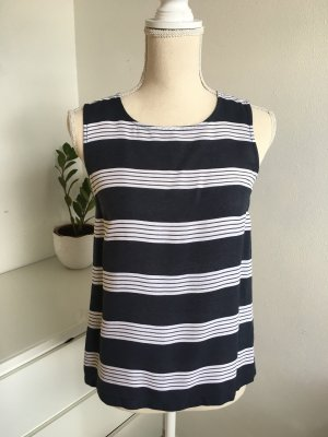 More & More Mouwloze blouse donkerblauw-wolwit