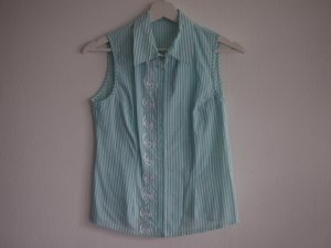 Sleeveless Blouse turquoise-white cotton