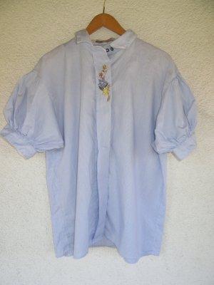 gestreifte Bluse Tracht blau Puffärmel Vintage Retro Gr. 52