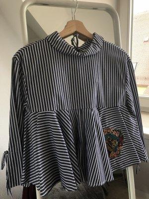 Gestreifte Bluse von Zara mit Stickerei