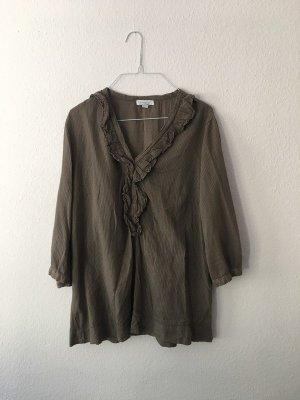 Gestreifte braun-weiße Bluse mit Rüschen von Zanetti; 100% aus Baumwolle