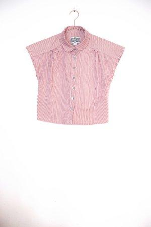 gestreifte Crop Bluse mit Bubikragen / Vintage