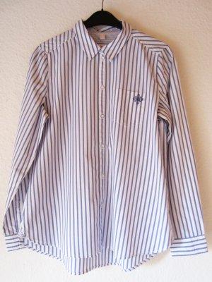 Gestreifte Hemd-Bluse mit Stickerei