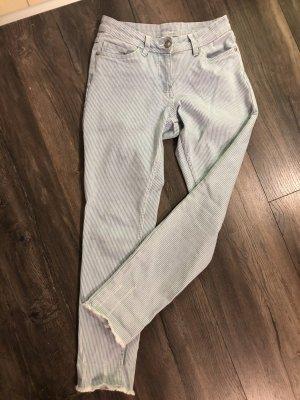 Jeans a 7/8 bianco-blu fiordaliso