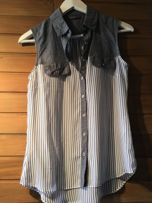 Gestreifte Jeans-Tüll Bluse