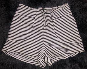Bershka Short taille haute blanc-noir