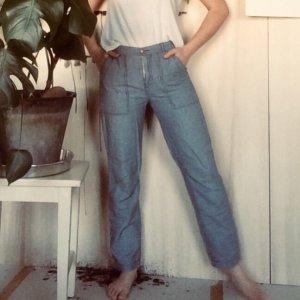 H&M Pantalon boyfriend blanc cassé-bleu azur
