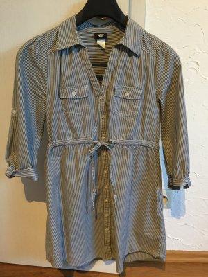 Gestreifte Long-Bluse zum Raffen und Krempeln von H&M in 36