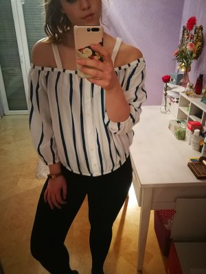 Gestreifte Off-Shoulder Bluse
