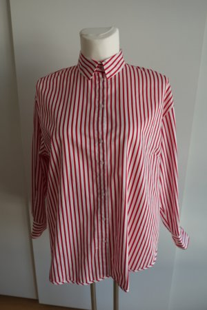 H&M Blusa ancha blanco-rojo Algodón