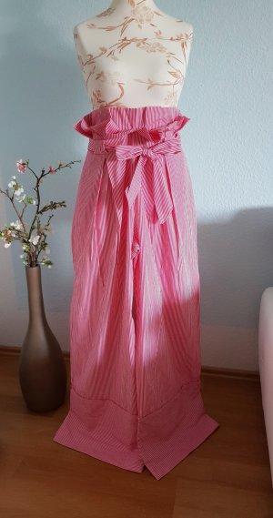 gestreifte, pink-weiße, highwaist Palazzohose von Zara