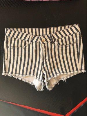 H&M Short taille haute blanc-noir