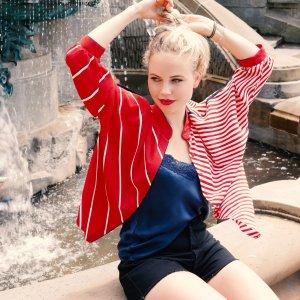 Gestreifte Vintage Bluse mehrfarbig mit weiten Ärmeln