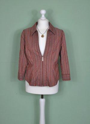 Gestreifte Vintage Bluse mit Reißverschluss in Erdtönen