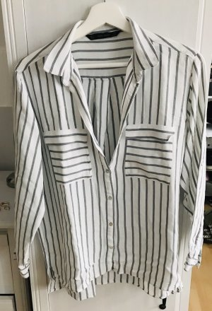Zara Blusa de manga larga blanco-gris