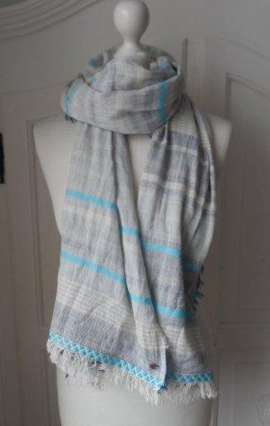 gestreifter Esprit Schal aus Baumwolle Beige Türkis