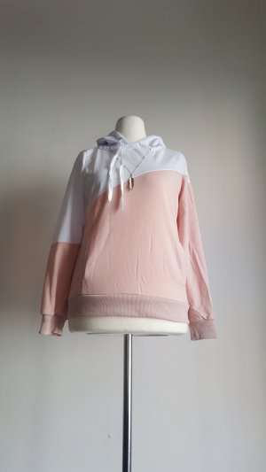 Capuchon sweater wit-neonroos