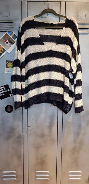 H&M Oversized trui wit-donkerblauw