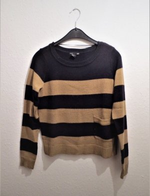 H&M Jersey de cuello redondo negro-marrón