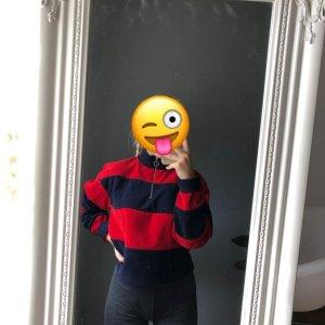 Bershka Pull-over à col roulé bleu foncé-rouge foncé