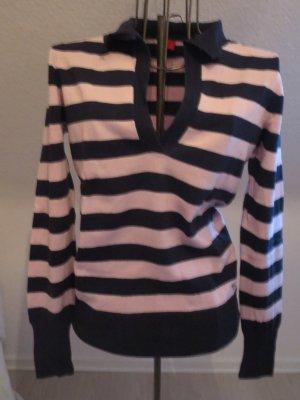 gestreifter Pullover blau rosa mit Kragen Gr. 40/M