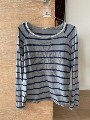 Gestreifter Pullover mit Muster, 5% Kaschmir
