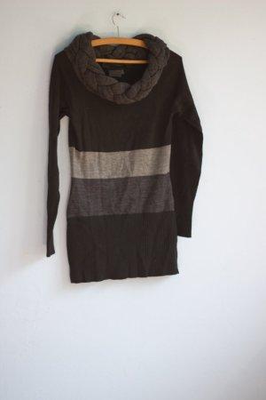 Gestreifter Pullover mit Zopfkragen Rainbow 32/34 schwarz grau
