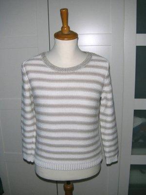 gestreifter Pullover, Strickpullover, Streifen, beige-creme, H&M, Gr. S