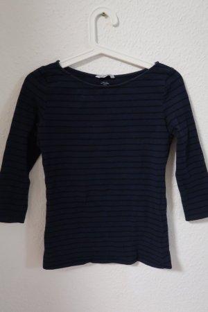 H&M Camisa de cuello barco negro-azul oscuro Algodón