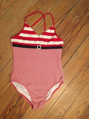 gestreifter Sailor Badeanzug in rot und navyblau