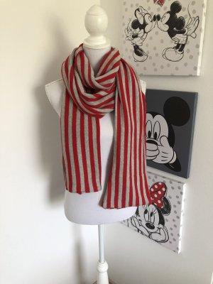 Sciarpa lavorata a maglia grigio-rosso