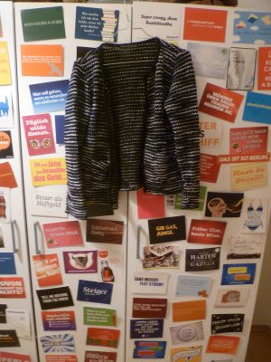 Gestreifter Strickcardigan, Atmosphere, Grobstrick, Blazer, Strickjacke, Blogger
