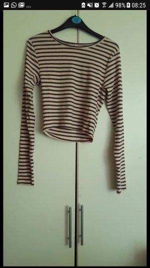 Amisu Camisa recortada marrón oscuro-malva