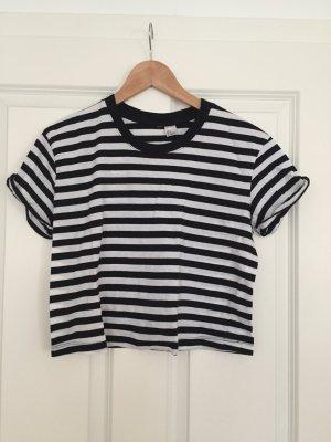 H&M Cropped shirt zwart-wit Katoen