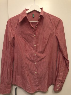 Benetton Shirt met lange mouwen donkerrood-wit