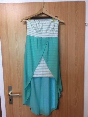 High Low Dress white-turquoise