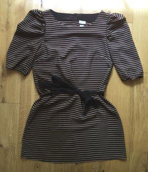 Gestreiftes Kleid bzw. Longtop mit Puffärmeln und Schleife