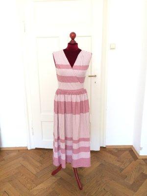 Gestreiftes Kleid, S, neu/ungetragen,  V-Ausschnitt, rosa-weiß mit Glitzerfaden/Metallic