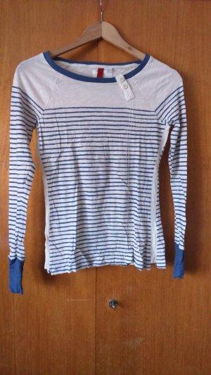 gestreiftes langarm Shirt mit Zierknöpfen