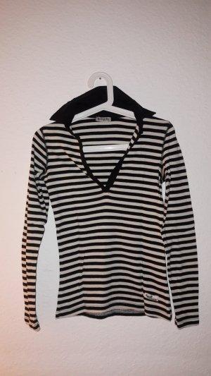 Boysen's Gestreept shirt wit-zwart Katoen