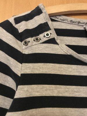 Camisa de rayas gris claro-azul oscuro Licra