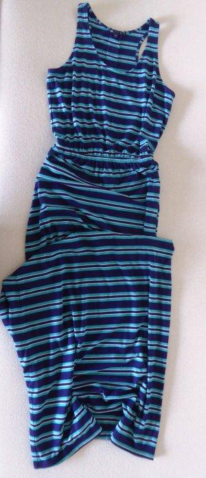 gestreiftes, langes Sommerkleid in Dunkel-Blau /Türkis-Hellblau - perfekt am Strand