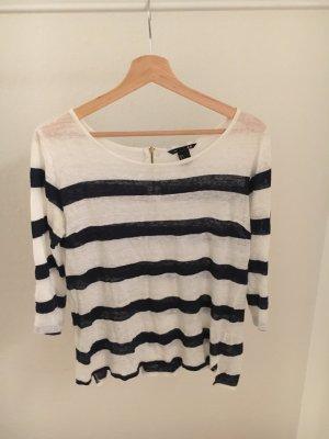 H&M Gestreept shirt wit-blauw Linnen