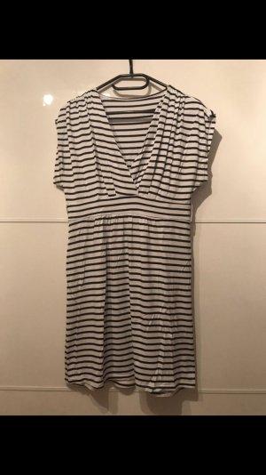 Vestido estilo camisa blanco-azul oscuro