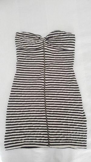 gestreiftes Minikleid aus doppellagigem Baumwollstretch