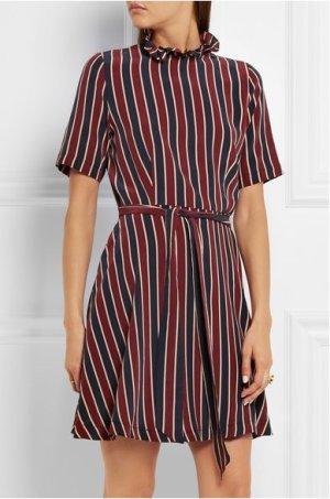 Gestreiftes Minikleid aus Seide von Ganni blau rot Streifenkleid