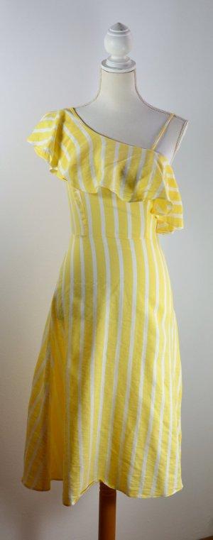 Vestido bandeau amarillo-blanco Algodón