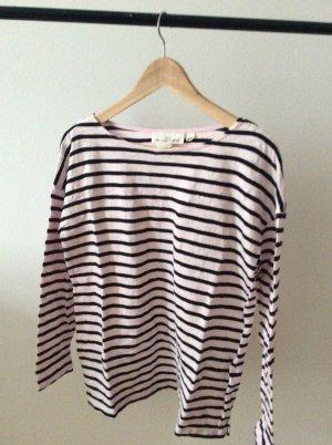 H&M T-shirt rayé rose clair-noir coton