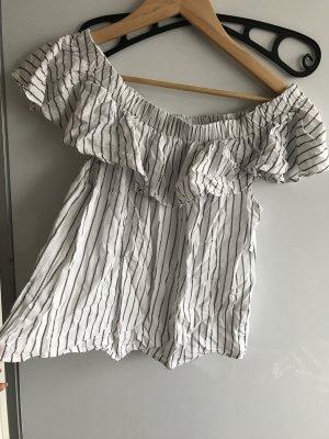 Only Camisa recortada negro-blanco