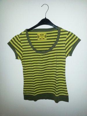 Gestreept shirt donkergeel-khaki